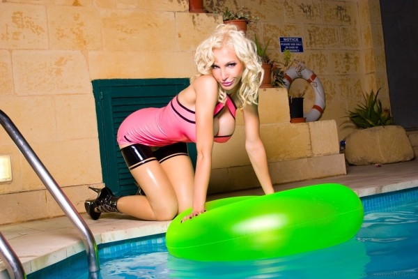 Busty blonde in the pool-34