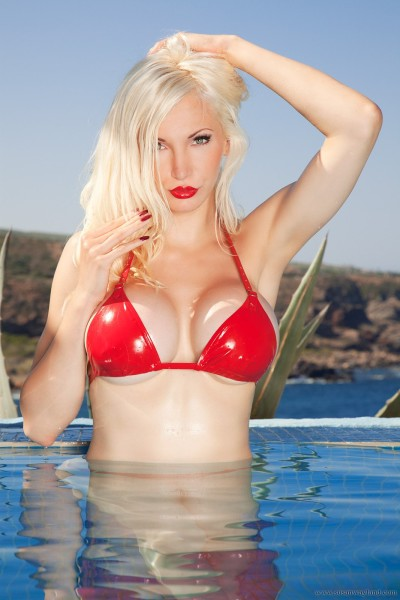 Busty blonde in the pool-146