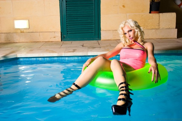 Busty blonde in the pool-36