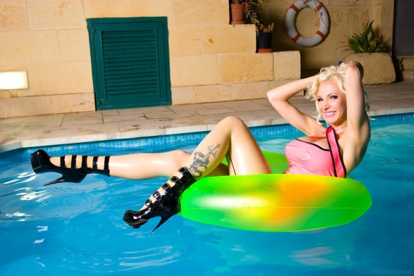 Busty blonde in the pool-38