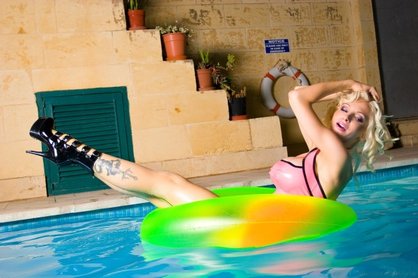 Busty blonde in the pool-40