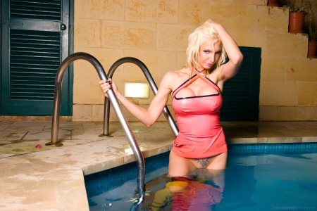 Busty blonde in the pool-58